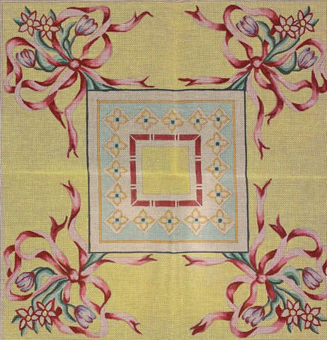 Vintage Rug - Yellow with Ribbons