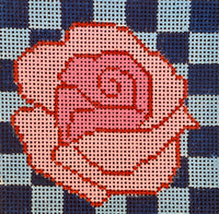 Rose on Blue Checkered Background