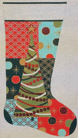 Christmas Tree Collage Stocking