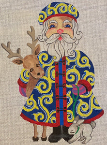 Santa with Deer and Bunny