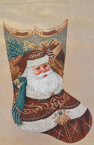 Burgandy Santa Stocking