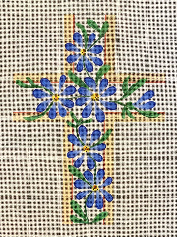 Large Cross - Blue Floral