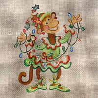 Dancing Monkey In Green Christmas Tutu Holding A Strand Of Lights Ornament