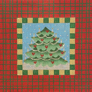 Christmas Tree with Plaid Border