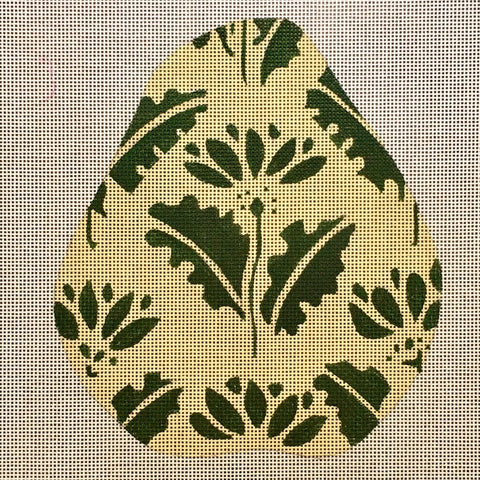 Large Pear - Green Floral Pattern