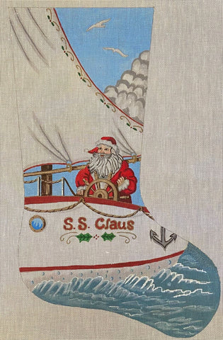 Santa Sailing Stocking - some stitching