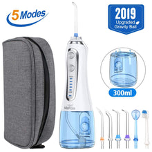Load image into Gallery viewer, 5 Modes Oral Irrigator USB Rechargeable Water Floss Portable Dental Water Flosser Jet 300ml Irrigator Dental Teeth Cleaner+5 Jet