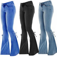 Load image into Gallery viewer, Swokii Ladies Mid-Waist Belt Denim Stretch  Jeans