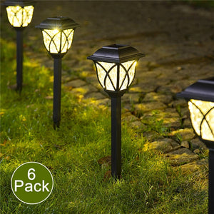 6 Pcs Lawn Lamp Easy Install Durable Yard Decoration Solar Powered Garden Waterproof