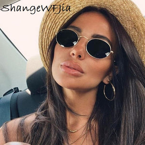 Small Oval Mirror Sunglasses For Women Luxury 2020  Men Brand Designer Eyewear Shades Ladies Alloy Sun Glasses UV400 Eyeglasses