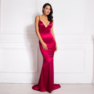 Deep V-Neck Burgundy Cut Out Sling Mermaid Dress Bodycon Floor Length Open Back Stretch Satin Evening Party Dress
