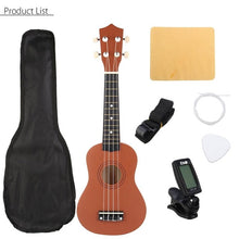 Load image into Gallery viewer, 21 inch Ukelele Soprano 4 Strings Hawaiian Spruce Basswood Guitar Musical Instrument Set Kits+Tuner+String+Strap+Bag