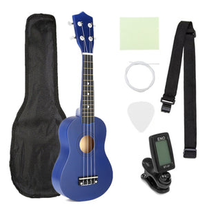 21 inch Ukelele Soprano 4 Strings Hawaiian Spruce Basswood Guitar Musical Instrument Set Kits+Tuner+String+Strap+Bag