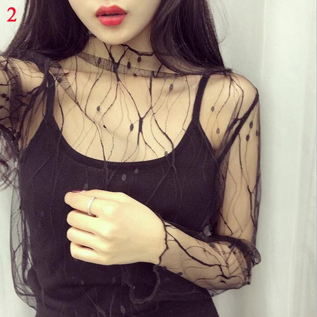Ladies Sheer Transparent Mesh Blouse Tops Casual Women's Shirt Tops Clubwear Sexy Summer Women Lace Star Print Tops