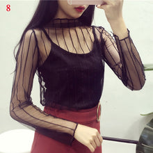 Load image into Gallery viewer, Ladies Sheer Transparent Mesh Blouse Tops Casual Women's Shirt Tops Clubwear Sexy Summer Women Lace Star Print Tops