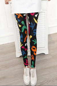 Leggings Hot Sell Women's Skull&flower Black Leggings Digital Print Pants Trousers Stretch Pants LG03