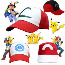 Load image into Gallery viewer, Anime Pokemon Pikachu Cosplay Hat Pocket Monster Ash Ketchum Demo Hats Canvas Baseball Cap Kids Adult Props Adjustable