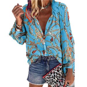 Fashion Floral Print Streetwear Women Shirt Casual Basic Soft Button Up Ladies Daily Autumn Winter Stand Collar Long Sleeve