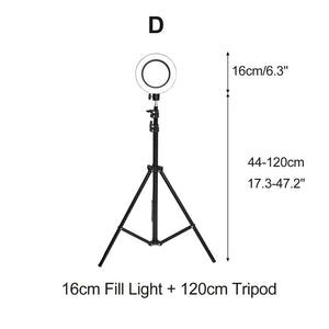 Photography Selfie LED Ring Light Dimmable  Beauty Fill Lamp With Stand Tripod Bracket For YouTube Makeup Video Live Studio