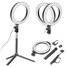 Load image into Gallery viewer, 5 In 1 Photography Dimmable LED Selfie Ring Light Video Live Dimmable 8 Inch Photo Studio Light With Phone Clip Tripod