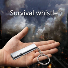 Load image into Gallery viewer, High quality Outdoor Camping Hiking Double Frequency Whistling Self-defense Survival Whistle Tool Essential supplies Silver   #8