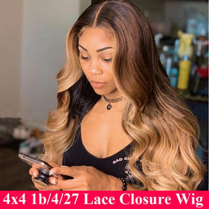 150% Ombre Body Wave Closure Wig 4x4 Lace Closure Wig Colored Ombre Human Hair Wigs Remy Brazilian Hair Wig For Women