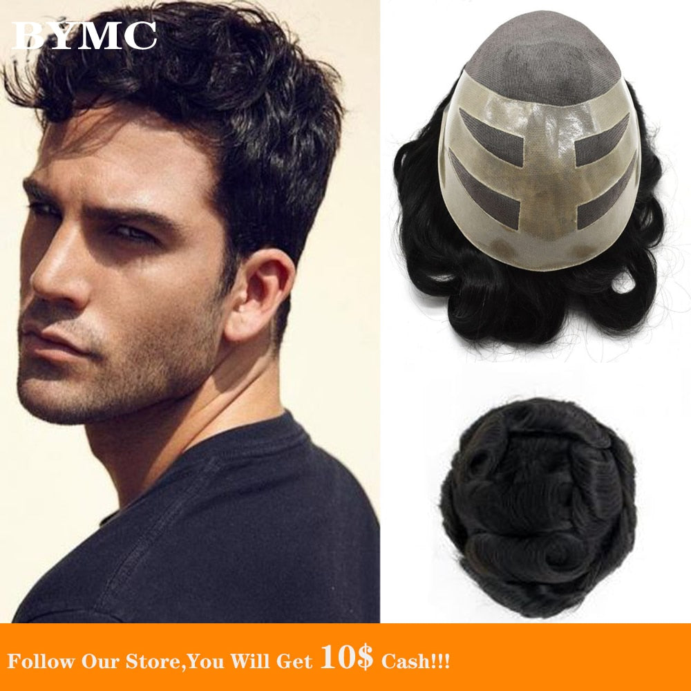 BYMC Natural Black Brazil Human Hair Men Toupee Swiss Lace Front Hair Replacement System Mono And PU Hairpieces Male Wig for Men
