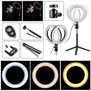 5 In 1 Photography Dimmable LED Selfie Ring Light Video Live Dimmable 8 Inch Photo Studio Light With Phone Clip Tripod