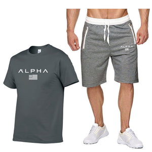 Mens Sportswear Summer Sport Suits 100% Cotton Running Sets