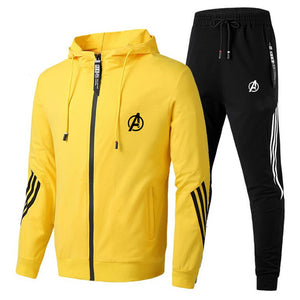 Spring Autumn 2020 Men Sweat Suit Set Striped Tracksuit Men Outfit Full Sleeve Tops with Hood Outdoor Sport Wear Men 2 Piece Set