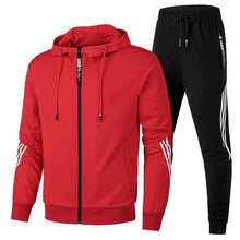 Load image into Gallery viewer, Spring Autumn 2020 Men Sweat Suit Set Striped Tracksuit Men Outfit Full Sleeve Tops with Hood Outdoor Sport Wear Men 2 Piece Set