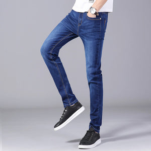 Zipper Fly men's 2020 thick jeans classic simple wash  straight trousers