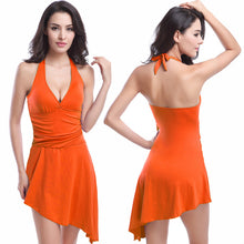 Load image into Gallery viewer, One Piece Swimsuit Skirt Halter Strappy Swimwear