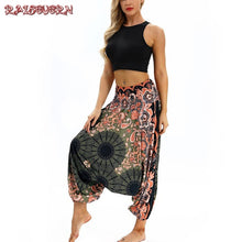 Load image into Gallery viewer, RAISEVERN Vintage Print Women Casual Pants 2018 Summer Boho Beach Elastic High Waist Chiffon Trousers Sporting Thai Harm Pants