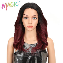 "Load image into Gallery viewer, MAGIC Hair 150% Density Ombre Loose Hair Synthetic Lace Wigs 18"" Loose Wavy Synthetic Lace Front Wigs For Black Women"