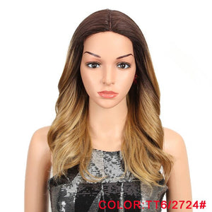 "MAGIC Hair 150% Density Ombre Loose Hair Synthetic Lace Wigs 18"" Loose Wavy Synthetic Lace Front Wigs For Black Women"