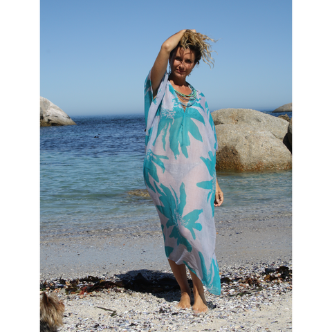 Blue floral summer kaftan
