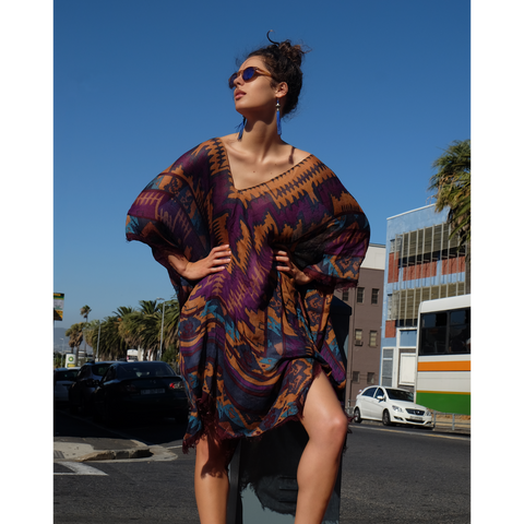 Purple and brown bohemian summer kaftan in town