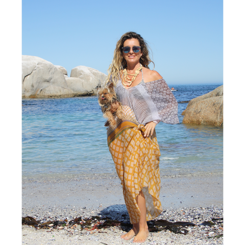 Grey and mustard summer kaftan (knotted)