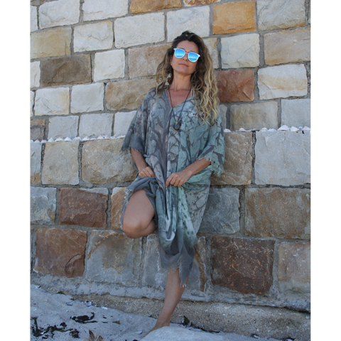 Natural, green, earthy summer kaftan