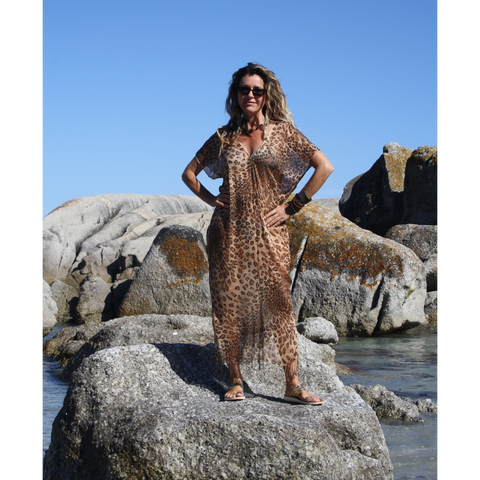 Brown Summer Leopard Print Kaftan on the rocks