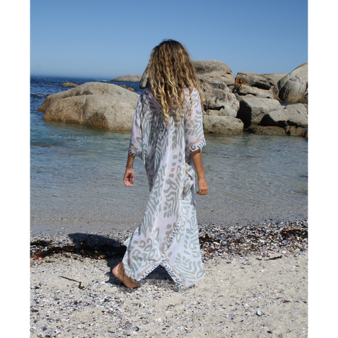 Grey, long animal print summer kaftan