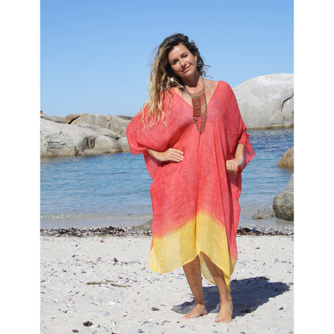 Red and yellow sunset summer kaftan