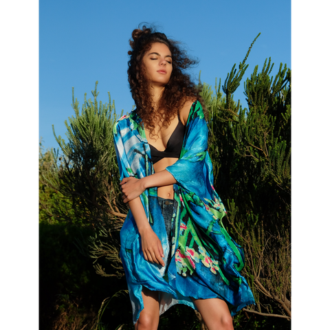 Blue alternative, bohemian summer kimono