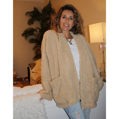 Beige warm, fluffy winter jacket