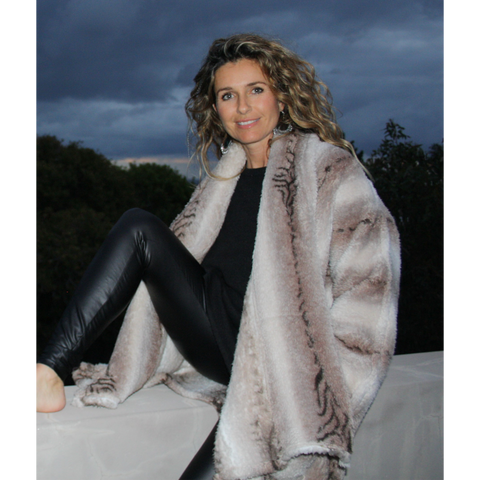 Neutral animal print warm, fluffy winter jacket