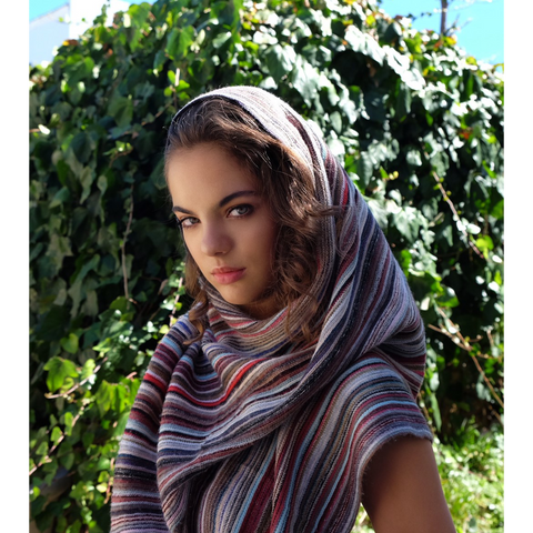 Mexican stripe winter poncho styled as hijab