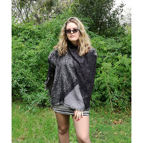 Black and grey fluffy winter poncho