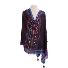 Load image into Gallery viewer, Black & Multi-colour Ethnic poncho - Dammit Janet