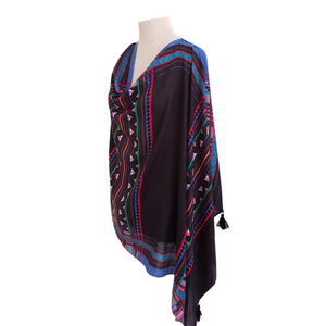 Black & Multi-colour Ethnic poncho - Dammit Janet